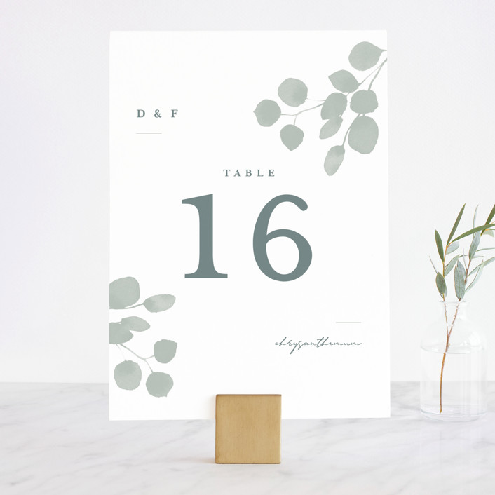 """""""Silver Dollar Eucalyptus"""" - Wedding Table Numbers in Silver Dollar by Shannon Chen."""