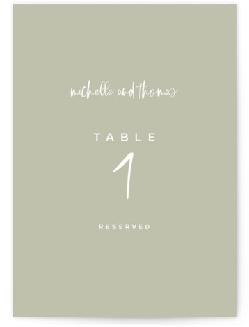 This is a simple and minimalist, green Table Numbers by Lori Wemple called Moderne with Standard printing on Luxe Museum Board in Classic Flat Card format. Simple, clean
