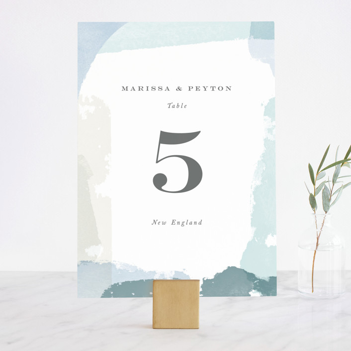 """""""Overlapping"""" - Modern Wedding Table Numbers in Blush by Jennifer Wick."""