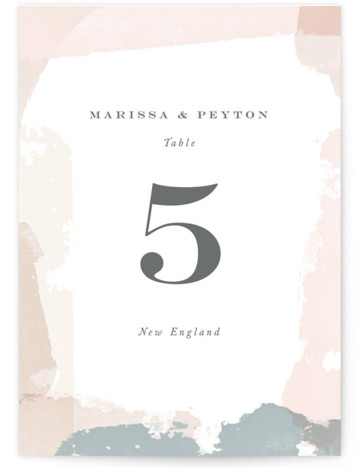 This is a modern, painterly, pink Table Numbers by Jennifer Wick called Overlapping with Standard printing on Signature in Classic fold over (blank inside) format. A beautiful border of layered paint strokes in hues of blush, coral, teal and cream ...