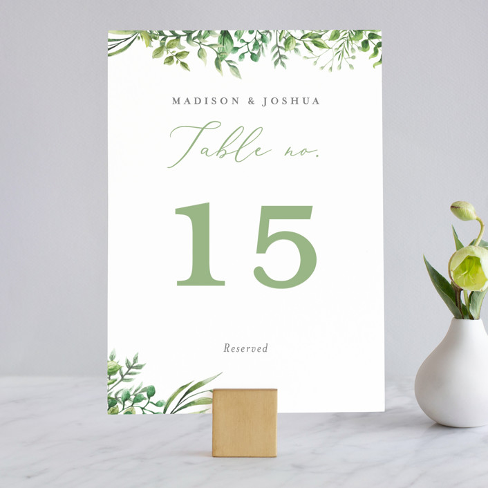 """""""Bright & Green"""" - Wedding Table Numbers in Sprig by Amanda Day."""
