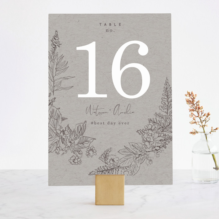 """Floral Frame Sketch"" - Wedding Table Numbers in Fog by Baumbirdy."