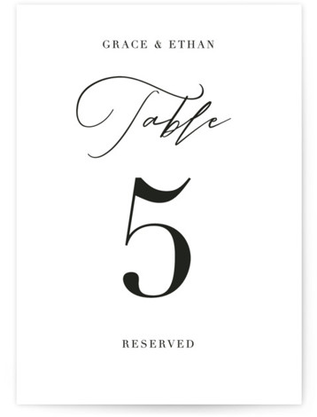 This is a classic and formal, simple and minimalist, black and white Table Numbers by Kasia Labocki called first dance with Standard printing on Signature in Classic fold over (blank inside) format. A modern script accents this wedding invitation with ...