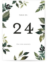 This is a green table number by Alethea and Ruth called Clearing with standard printing on doublethick in standard.