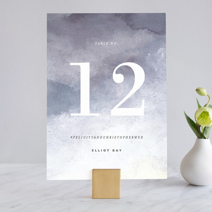 """""""Sea Splash"""" - Modern Wedding Table Numbers in Amethyst by Alethea and Ruth."""