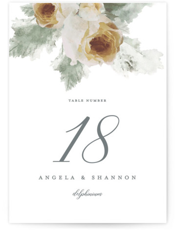 This is a botanical, painterly, yellow Table Numbers by Cassandra Imagines called rose drop with Standard printing on Luxe Museum Board in Classic Flat Card format. Hand painted rose bouquet