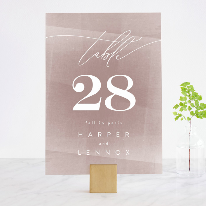 """plain paint"" - Modern Wedding Table Numbers in Taupe by Phrosne Ras."