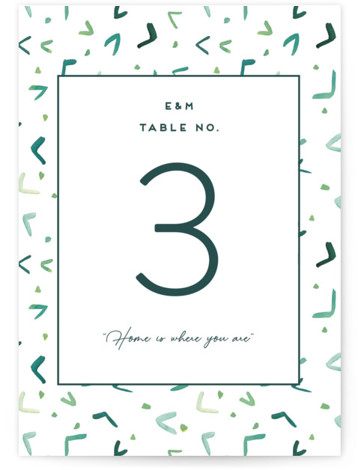 This is a illustrative, painterly, green Table Numbers by Yao Cheng Design called Evergreens Watercolor with Standard printing on Luxe Museum Board in Classic Flat Card format. Inspired by the Adirondack mountains, this invitation celebrates nature in a modern way! ...