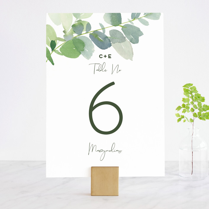 """""""Soft Eucalyptus"""" - Wedding Table Numbers in Garden by Yao Cheng Design."""