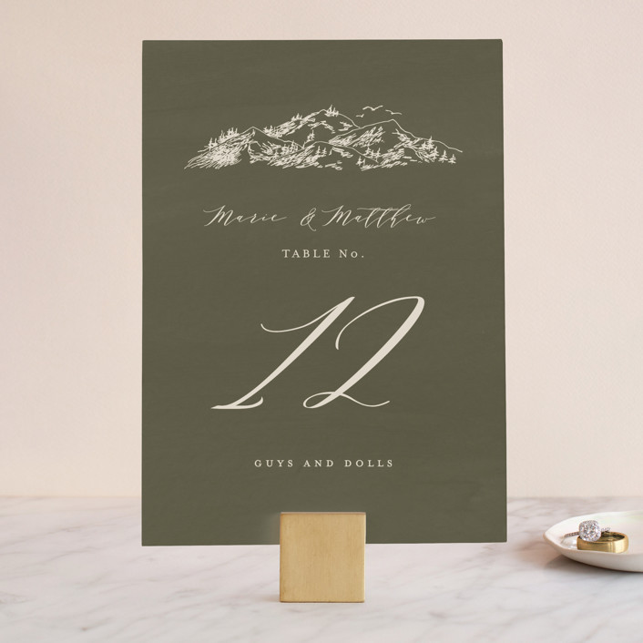 """""""into the mountains"""" - Rustic Wedding Table Numbers in Olive by Helen Halik."""