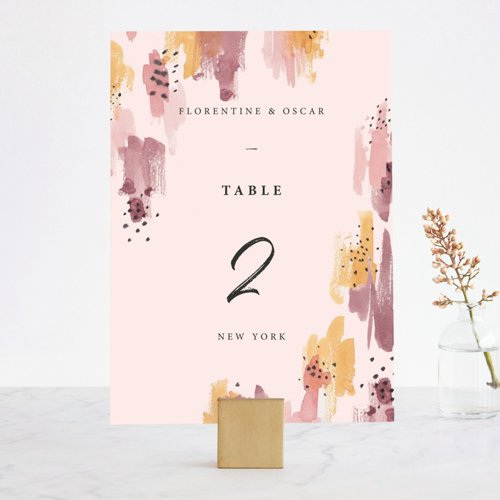 """Mod Brush"" - Modern Wedding Table Numbers in Blush by Lisa Fee Paura."