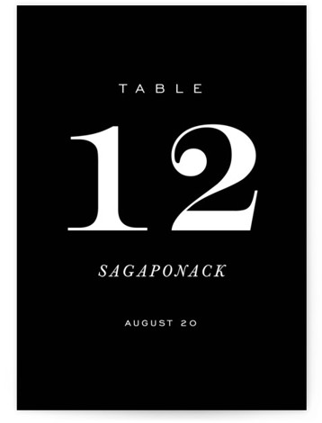 This is a classic and formal, black Table Numbers by Kimberly FitzSimons called Enamored with Standard printing on Luxe Museum Board in Classic Flat Card format. A bold wedding invitation with an eye catching monogram and chic lettering.