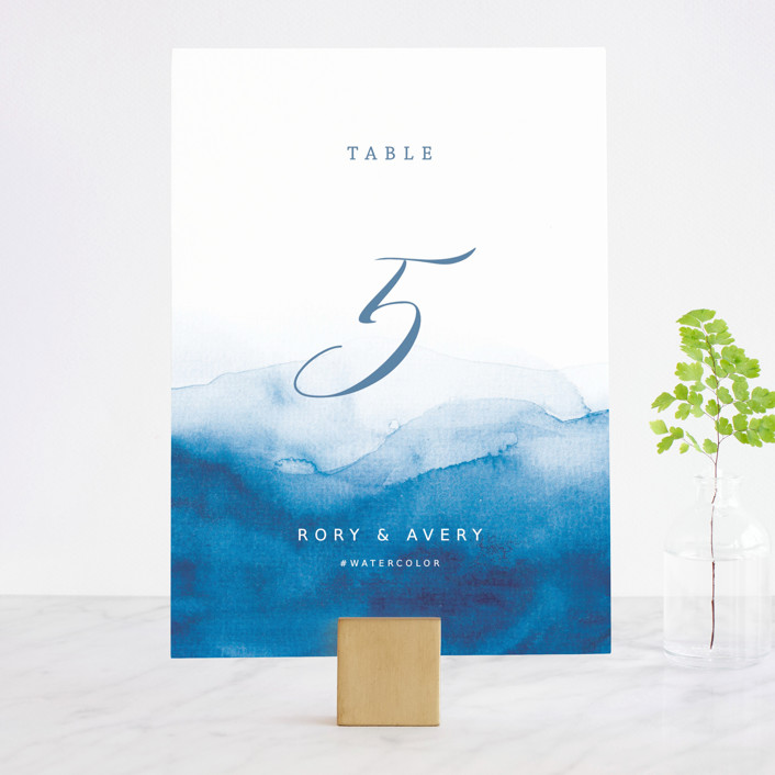 """Watercolor waves"" - Wedding Table Numbers in Ocean by Yuliya Evseeva."