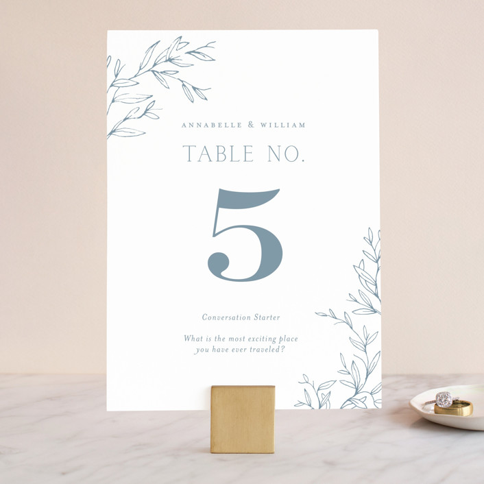 """""""Love Beyond Measure"""" - Wedding Table Numbers in Mineral by Oscar & Emma."""