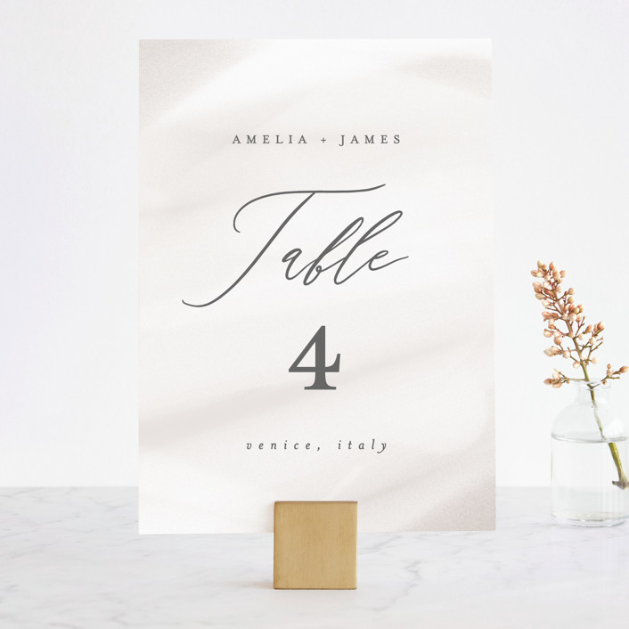 """""""Overjoyed"""" - Wedding Table Numbers in Taupe by Ana Sharpe."""