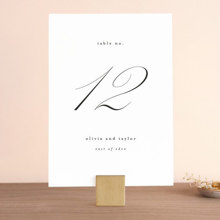 """Scripted Union"" - Wedding Table Numbers in Pearl by Kelly Schmidt."