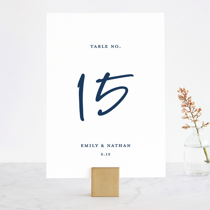 """""""Semi Formal"""" - Wedding Table Numbers in Navy by Paper Dahlia."""