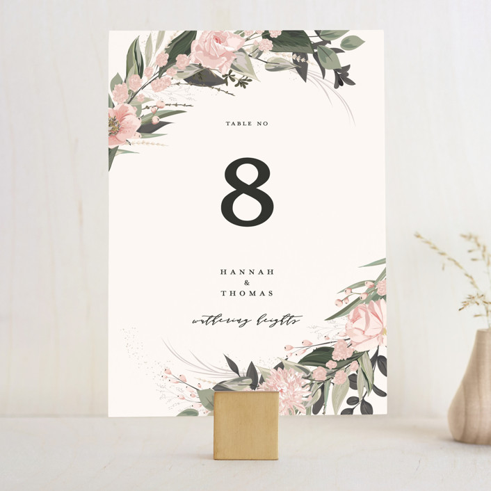 """Ivory Ring"" - Wedding Table Numbers in Blush by Susan Moyal."