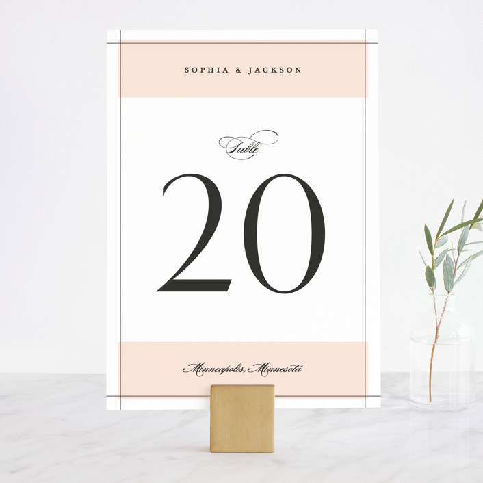 """""""Classical"""" - Wedding Table Numbers in Blush by Michelle Taylor."""