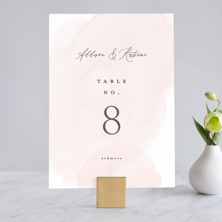 """""""Softly Layered"""" - Wedding Table Numbers in Blush by Everett Paper Goods."""