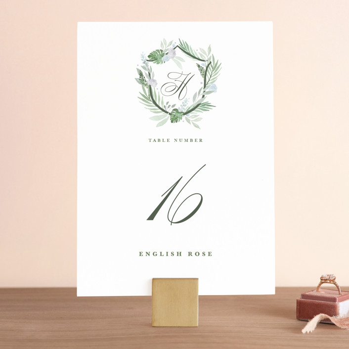 """Botanical Seal"" - Wedding Table Numbers in Pastel by Kristen Smith."