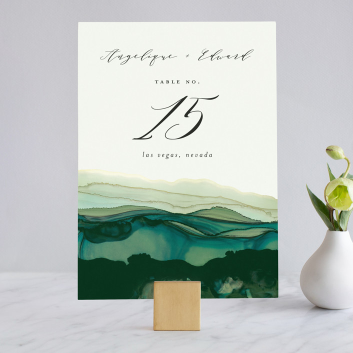 """Flow"" - Bohemian Wedding Table Numbers in Emerald by Three Kisses Studio."