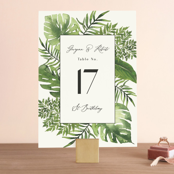 """Tropical Vows"" - Wedding Table Numbers in Jade by Chris Griffith."