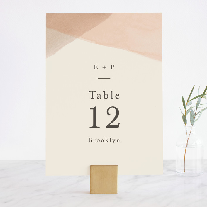 """Desert Wash"" - Wedding Table Numbers in Peach by Amy Kross."