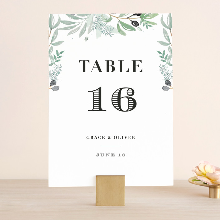 """""""Olivier"""" - Wedding Table Numbers in Olive by Bonjour Paper."""