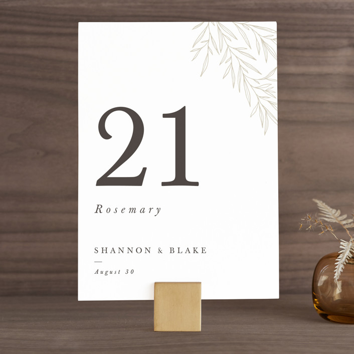 """Herb Garden"" - Wedding Table Numbers in Taupe by Sarah Brown."