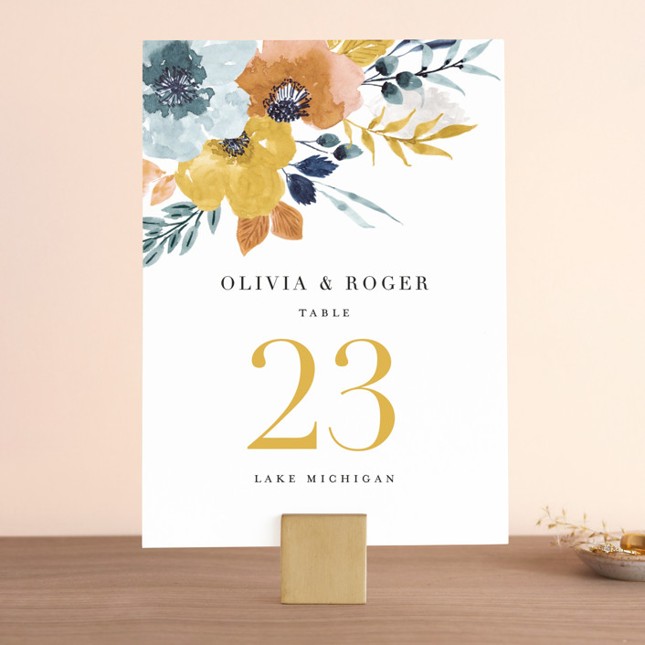 """""""Daydream"""" - Wedding Table Numbers in Honey by Beth Schneider."""