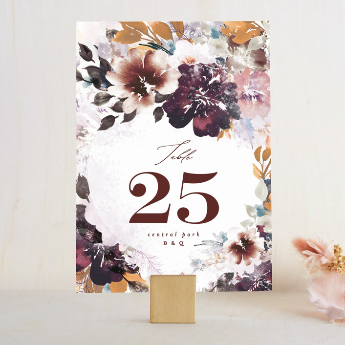 """Lush Bouquet"" - Wedding Table Numbers in Autumn by Phrosne Ras."