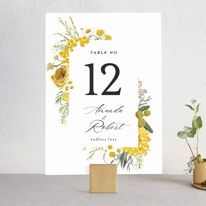 """""""Organic Florals"""" - Wedding Table Numbers in Honey by Susan Moyal."""
