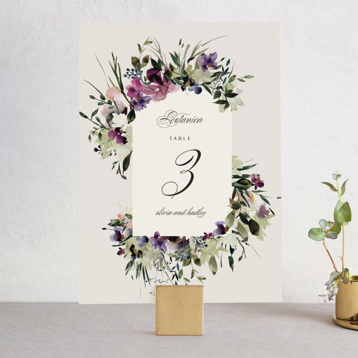 """""""Floral Love"""" - Wedding Table Numbers in Lilac by Lori Wemple."""