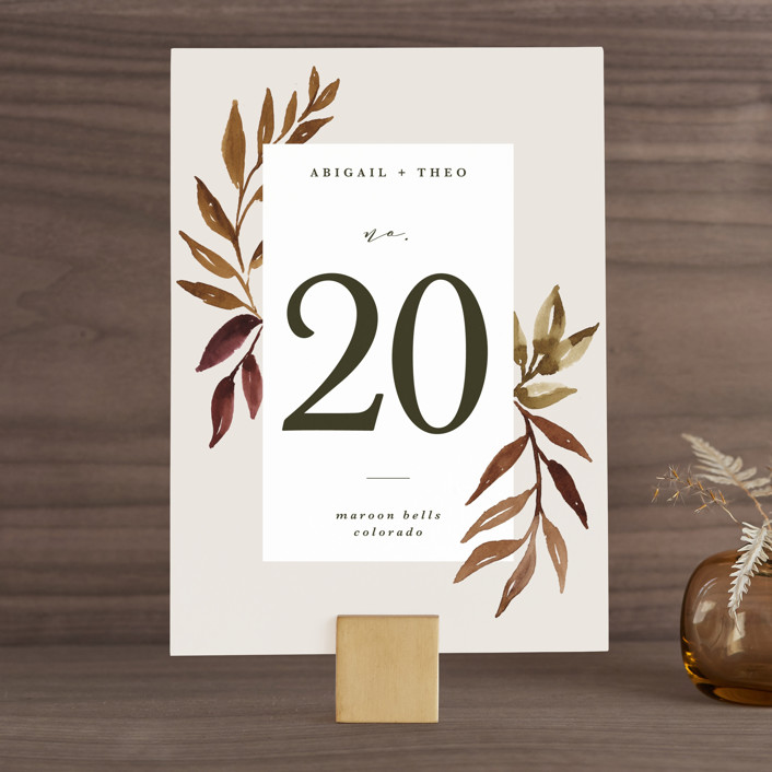 """""""botanical portrait"""" - Rustic Wedding Table Numbers in Leather by Kate Ahn."""