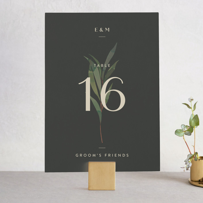 """""""Modern Leaves"""" - Wedding Table Numbers in Smoked by Four Wet Feet Studio."""