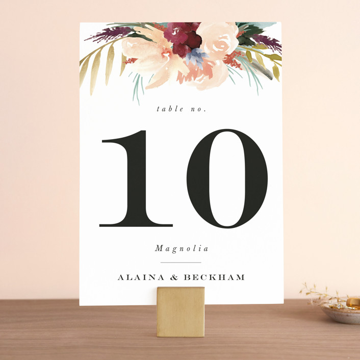 """""""rustic florals"""" - Wedding Table Numbers in Garden by Kate Ahn."""
