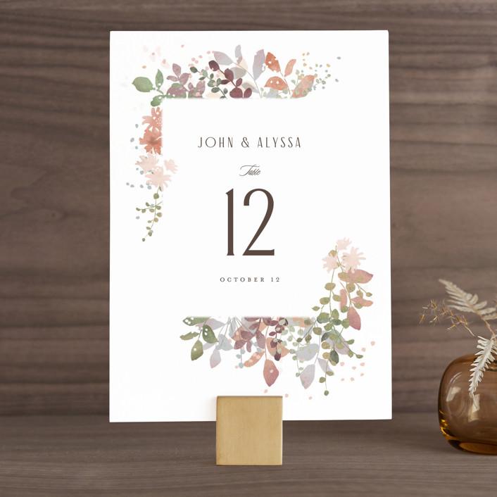 """Wesleyan Hill"" - Wedding Table Numbers in Wildflower by Jennifer Wick."