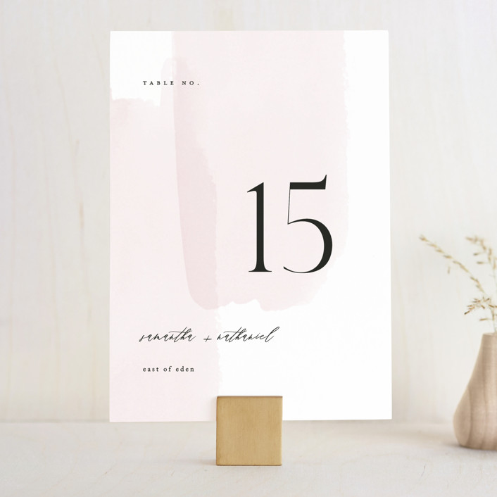 """""""Painterly"""" - Wedding Table Numbers in Blush by Kelly Schmidt."""