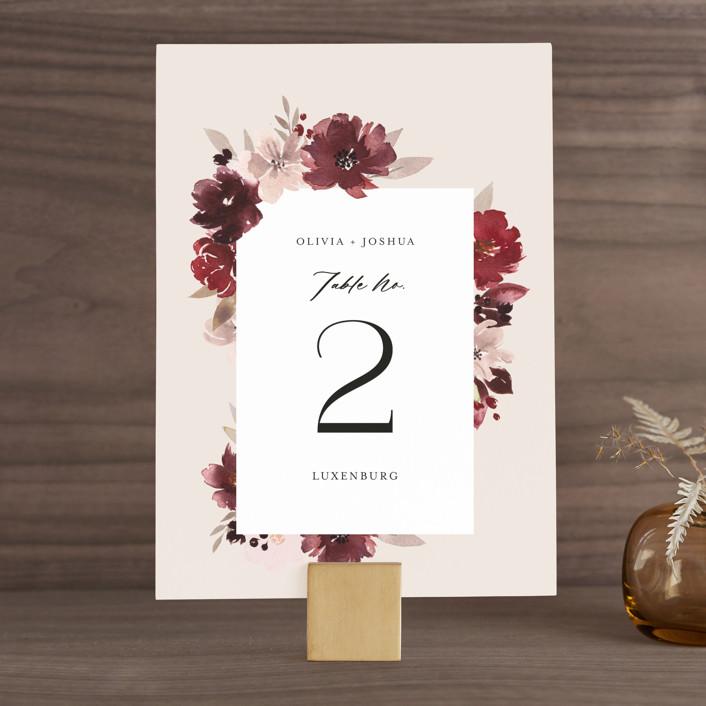 """Emyn"" - Wedding Table Numbers in Burgundy by Itsy Belle Studio."