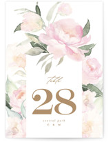 This is a white table number by Phrosne Ras called beautiful peonies with standard printing on signature in standard.