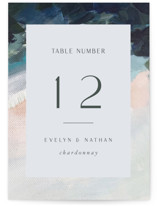 This is a blue table number by Nicole Walsh called Evelyn with standard printing on signature in standard.