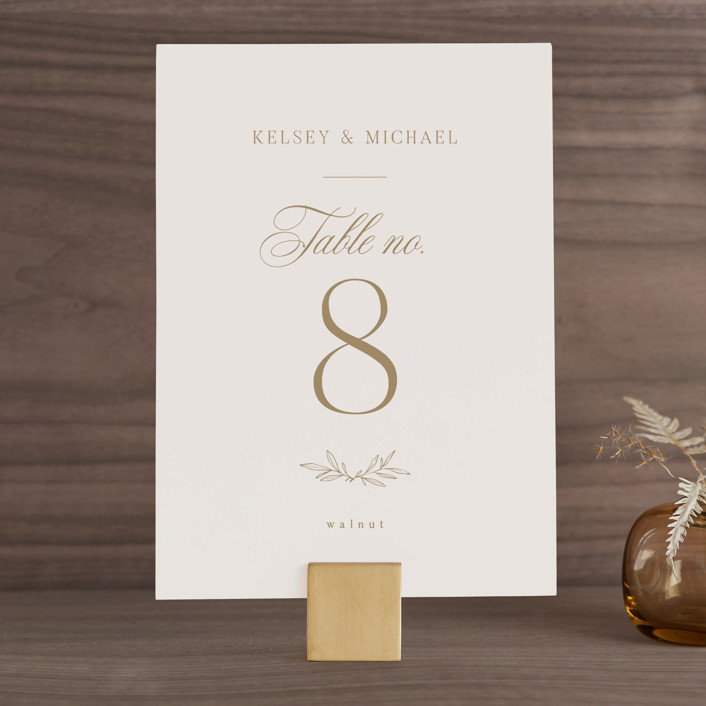 """""""Emblem"""" - Wedding Table Numbers in Champagne by Everett Paper Goods."""