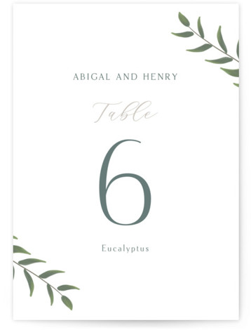 Collection Table Numbers