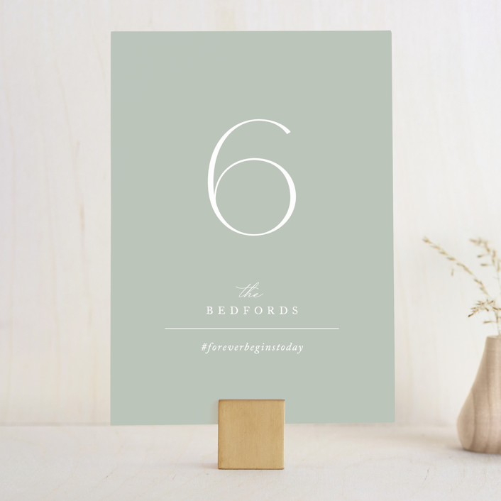 """""""Initial"""" - Wedding Table Numbers in Sage by Jennifer Postorino."""