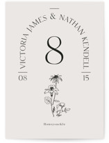 This is a grey table number by Baumbirdy called Floral Type Arch with standard printing on signature in standard.