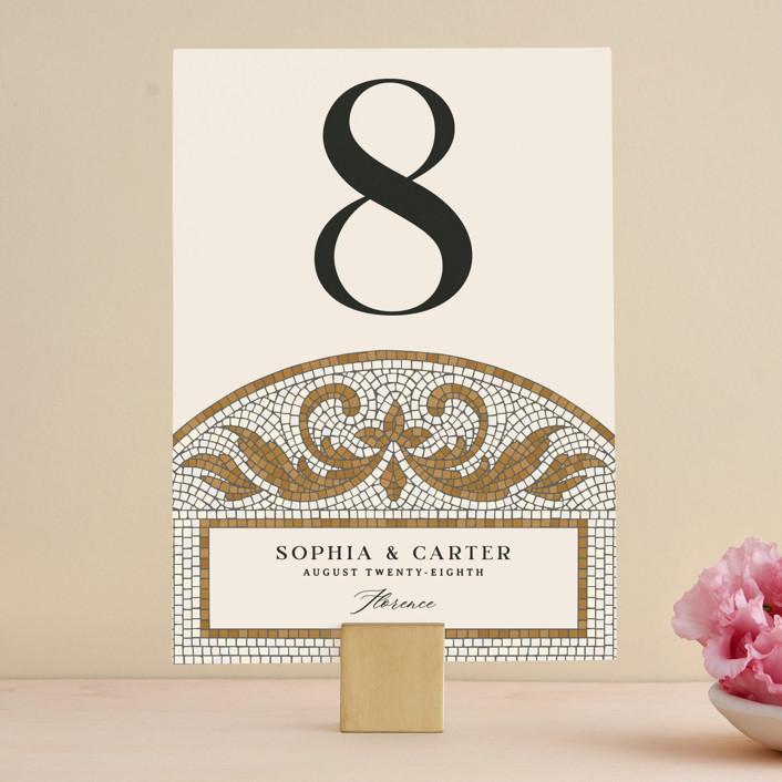 """Floral mosaic"" - Vintage Wedding Table Numbers in Sand by GeekInk Design."
