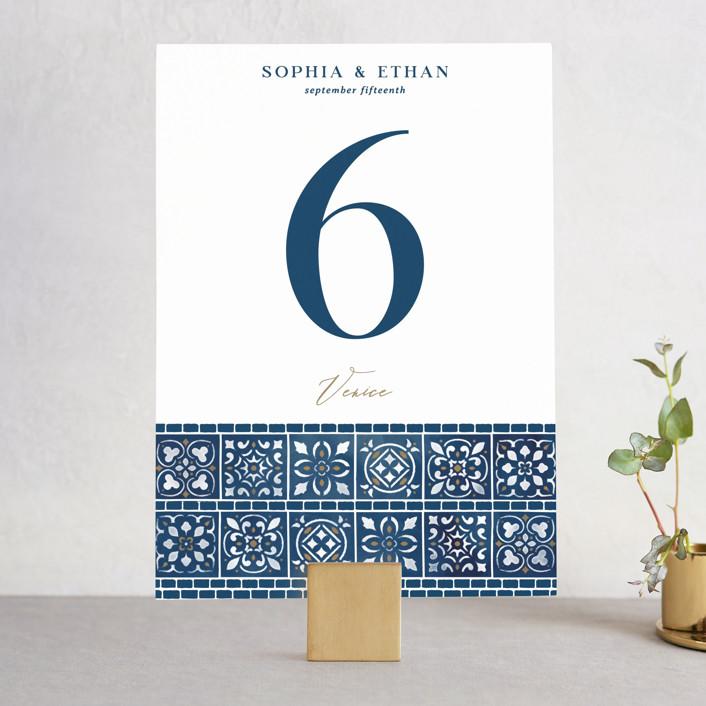 """""""Mediterranean Tiles"""" - Wedding Table Numbers in Ocean by GeekInk Design."""