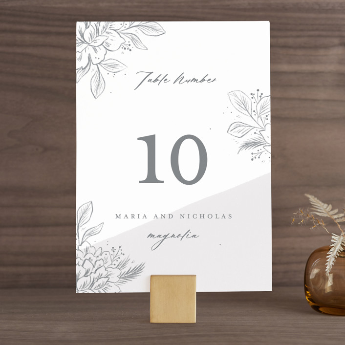 """""""Loving"""" - Wedding Table Numbers in Cloudy by Paper Raven Co.."""