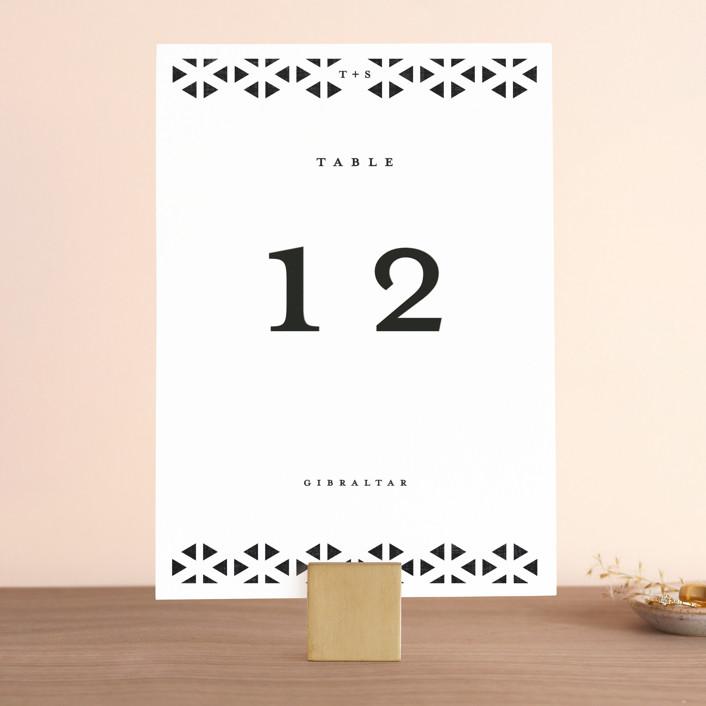"""Beau tied"" - Modern Wedding Table Numbers in Tuxedo by Gwen Bedat."